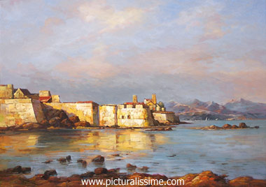 Reproduction tableaux Copie Tableau de Ma�tre Boudin les Fortifications � Antibes