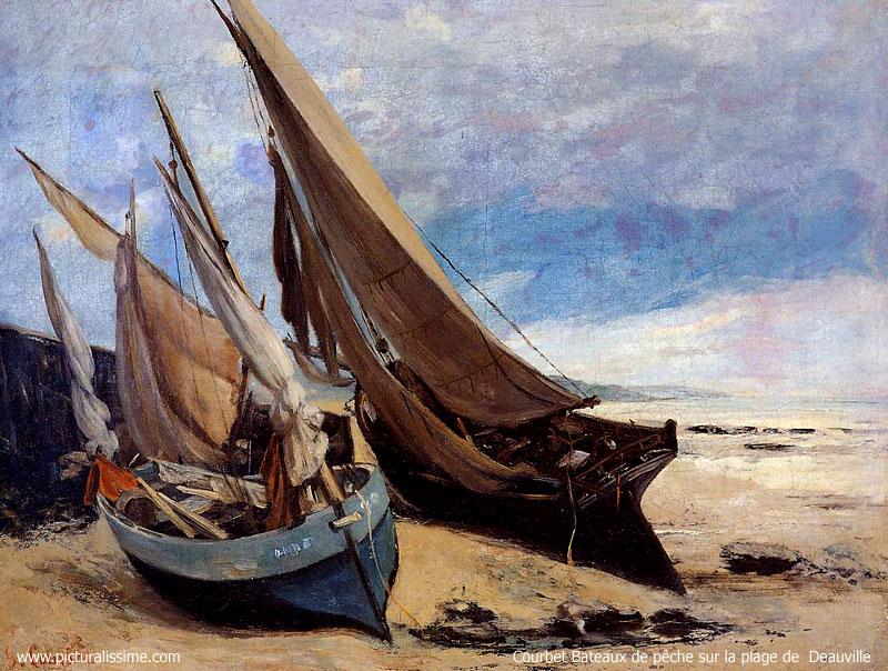 Courbet bateaux de pêche sur la plage de deauville reproduction de