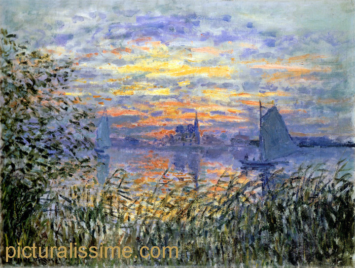 claude monet coucher de soleil sur la seine. Black Bedroom Furniture Sets. Home Design Ideas