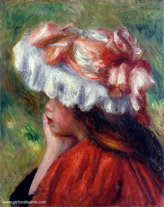 Auguste renoir fillette au chapeau rouge - Tableau de maitre reproduction ...