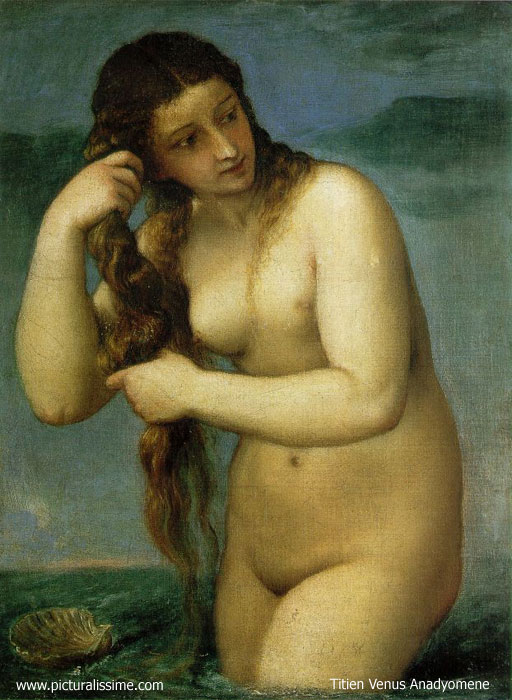 'Titien Titian Venus Anadyomene Venus sortant de la mer' from the web at 'http://www.picturalissime.com/g/../t/titien_titian_venus_anadyomene_l.jpg'