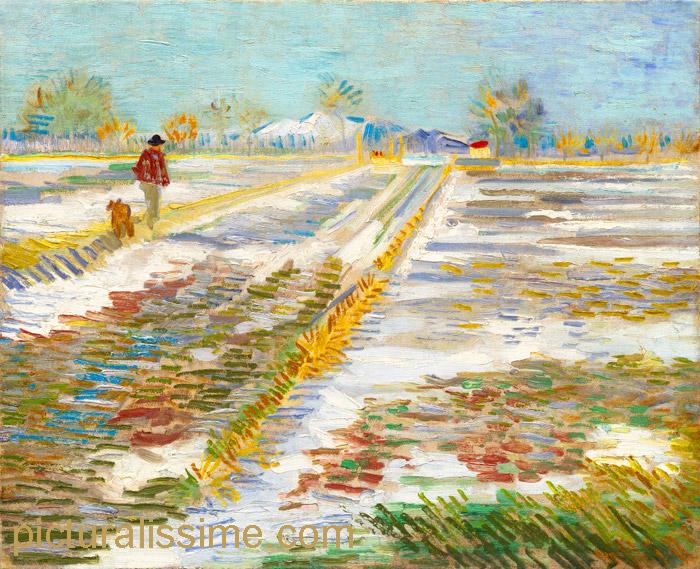 Van gogh paysage couvert de neige - Tableau de maitre reproduction ...